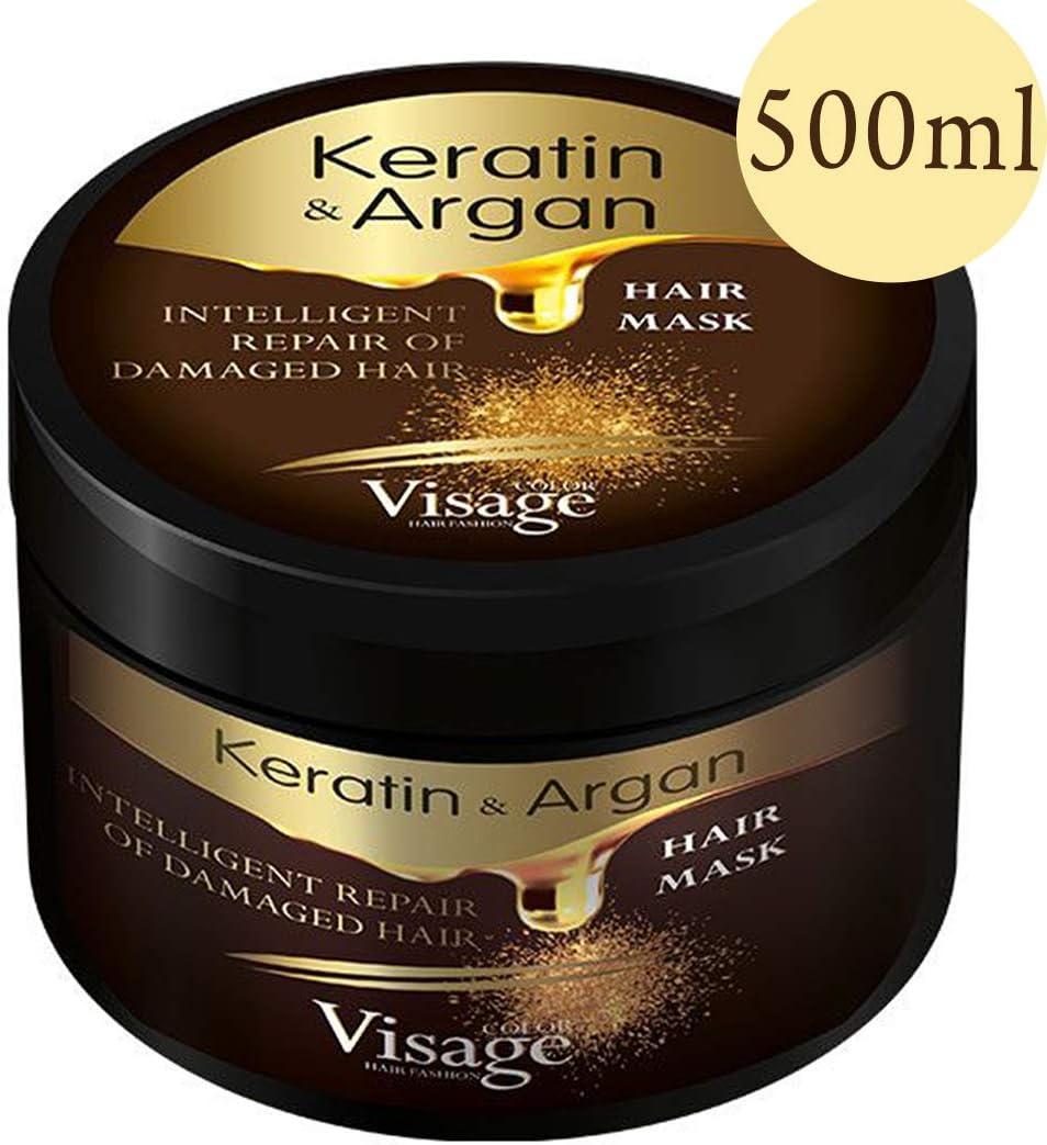 Mascarilla para el cabello de Visage con aceite de argán y queratina, para el cuidado del cabello teñido y seco, hidratante, sin experimentos con animales, tratamiento prémium de 500 ml