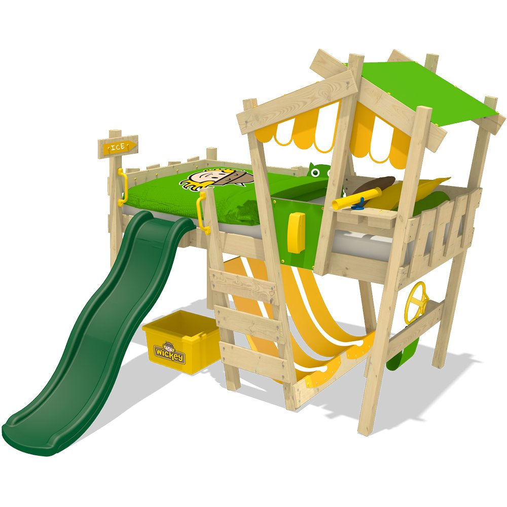 WICKEY Kinderbett CrAzY Hutty Hochbett Abenteuerbett inkl. Lattenboden - Apfelgrün-Gelb + grüne Rutsche