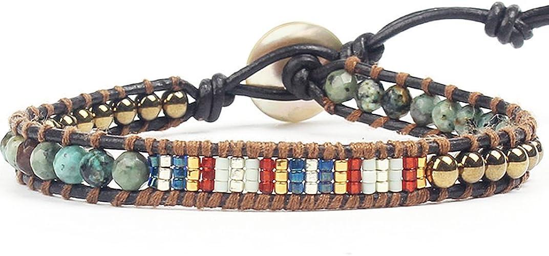 "LUCKYOON Boho Tree of life Pearl bead Strand Leather Wrap Bracelet Women girls charm Bangle Gift 16/"" Red"