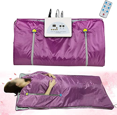 Enshey Far Infrared Sauna Blanket Digital Heat Waterproof Detoxification Slimming Blanket with 2 Zone Controller Professional Detox Therapy Anti-Ageing Beauty Machine Body Fitness Machine