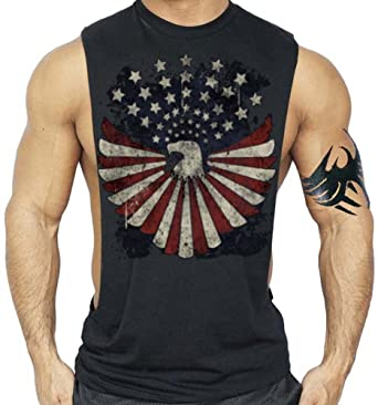 2f17066bded994 American Eagle US Flag Patriotic T-Shirt Bodybuilding Tank Top Black S-3XL  at Amazon Men s Clothing store