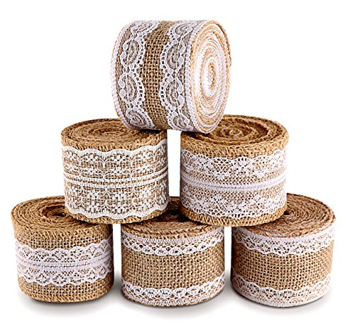 (ilauke 20 Yards Natural Burlap Ribbon Roll with White Lace Trims Tape 6 Rolls for Rustic Wedding Favor)