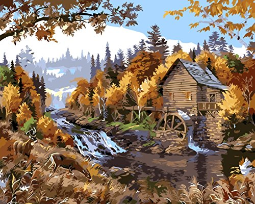 Diy Oil Painting, Paint by Number kit Hut Water Truck Autumn Forest Deers 16x20 inch Wooden Framed By Prime - Hut Water
