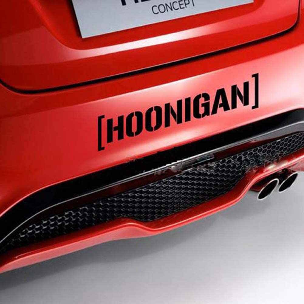 Black 15.2 Hoonigan Print Car Window Door Decals Self-Adhesive Racing Reflective Stickers 3.2cm