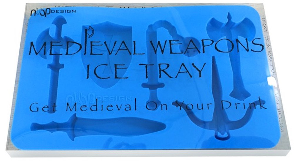 Medieval Weapons Silicone Ice Tray - keep your drinks cool with swords, shields, axes, and crossbows