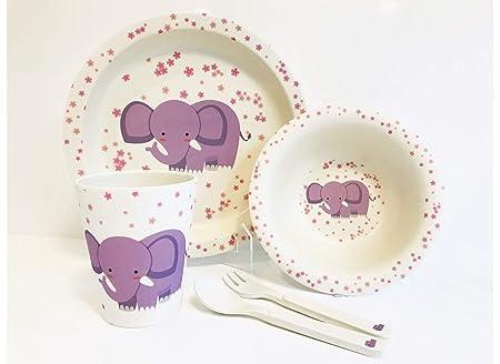 tazza Elefante Hi-Smile forchetta con piatto Set da tavola per bambini cucchiaio in fibra di bamb/ù