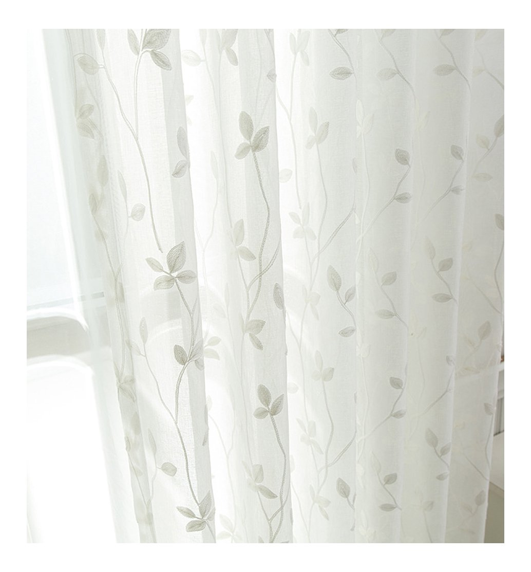 Aside Bside Rod Pocket Top Lace Twigs Embroidered Sheer Curtains Lodge Style Permeable Window Decoration for Houseroom Kitchen and Sitting Room (1 Panel, W 52 x L 63 inch, White)