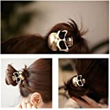 Women's Gril's Retro Punk Fashion Metallic 3D Skull HairBand Rope Tie Wrap Ponytail Holder Bronze