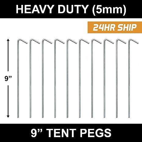 Confezione da 10 Acciaio Tenda Picchetti Heavy Duty Ganci in acciaio zincato da Campeggio Gazebo