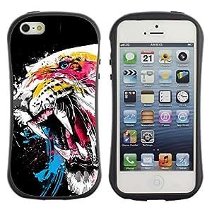 Suave TPU GEL Carcasa Funda Silicona Blando Estuche Caso de protección (para) Apple Iphone 5 / 5S / CECELL Phone case / / Awesome Fierce Neon Tiger /