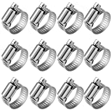 Anpro Pack of 12 Hose Clamp Stainless Steel Clamps Worm-Gear Hose Clamp, Miniature Power-Seal Worm-Drive Kit, 1/2'-1-1/16'(14-27mm)