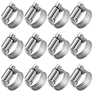 "Anpro Pack of 12 Hose Clamp Stainless Steel Clamps Worm-Gear Hose Clamp, Miniature Power-Seal Worm-Drive Kit, 1/2""-1-1/16""(14-27mm)"