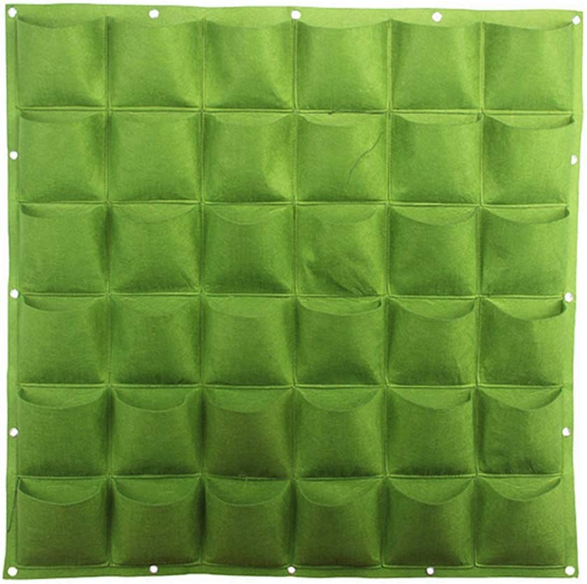 36 Pockets Hanging Garden Wall Planter,Vertical Wall Garden Planter Balcony Vegetable Plant Decoration Hanging Planting Bag Wall Mount Nursery Planter Solution (40 in x 40 in) Green