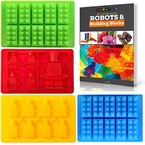 Best Candy Molds & Ice Cube Mold for Lego Lovers with Bonus Recipe eBook by Americas Best Buys (4-Pack) (Best Jello Cake Recipe)