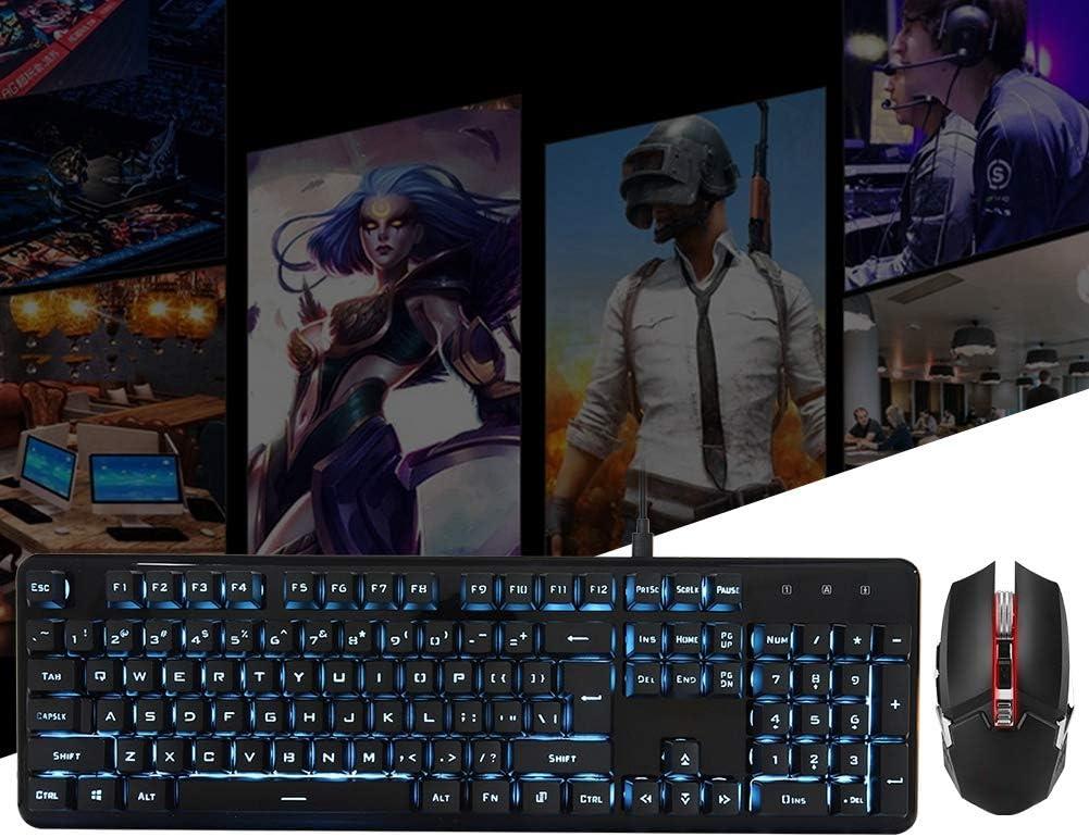 Pomya Keyboard Wireless Mouse,104 Keys USB Wireless Charging Light Gaming Keyboard and Mouse Set,Wireless Keyboard and Mouse Combo Blue