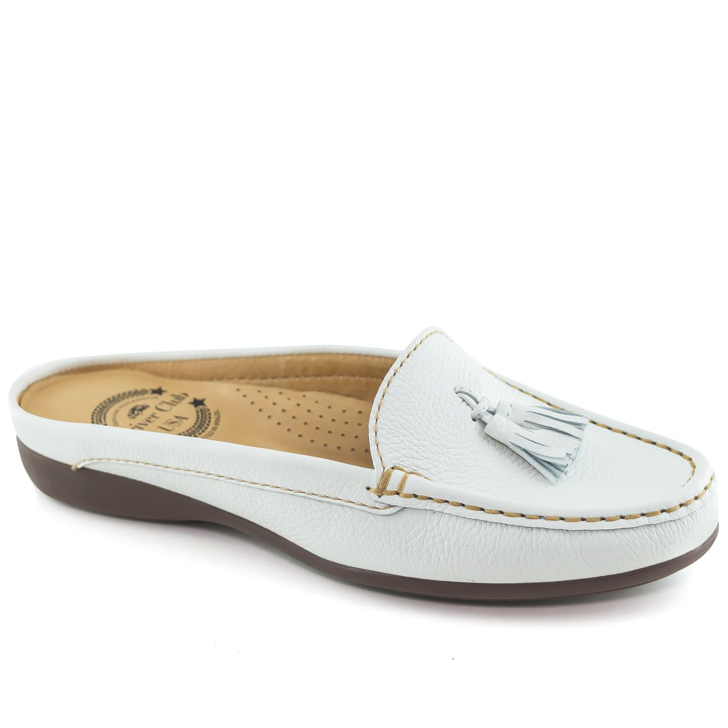 Driver Club USA Women's Austin Mule White Grainy Slip On 9