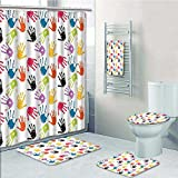 VROSELV 5-piece Bathroom Set-Includes Shower Curtain Liner, Print Teamwork Painting Fun Games Print Red Teal YellowDecorate the bathroom(Medium size)