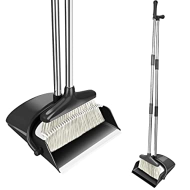 Lunies Broom and Dustpan Set with 51  Long Handle & Teeth - Broom and Dustpan Combo for Upright Sweep Home Kitchen Lobby Office House Clean Black