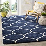 Safavieh Hudson Shag Collection SGH280C Navy and Ivory Moroccan Ogee Plush Area Rug 6 feet by 9 feet (6' x 9')