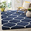 "Safavieh Hudson Shag Collection SGH280C Navy and Ivory Area Rug, 5 feet 1 inches by 7 feet 6 inches (5'1"" x 7'6"")"