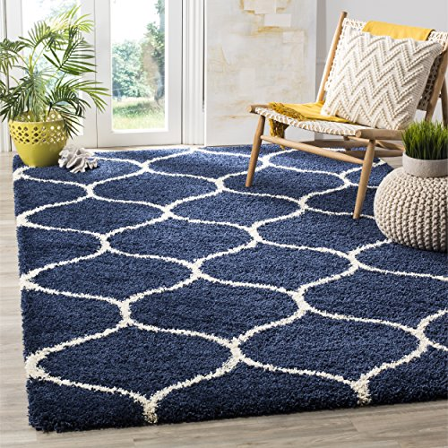 Navy and Ivory Moroccan Ogee Plush Area Rug 6 feet by 9 feet (6' x 9')