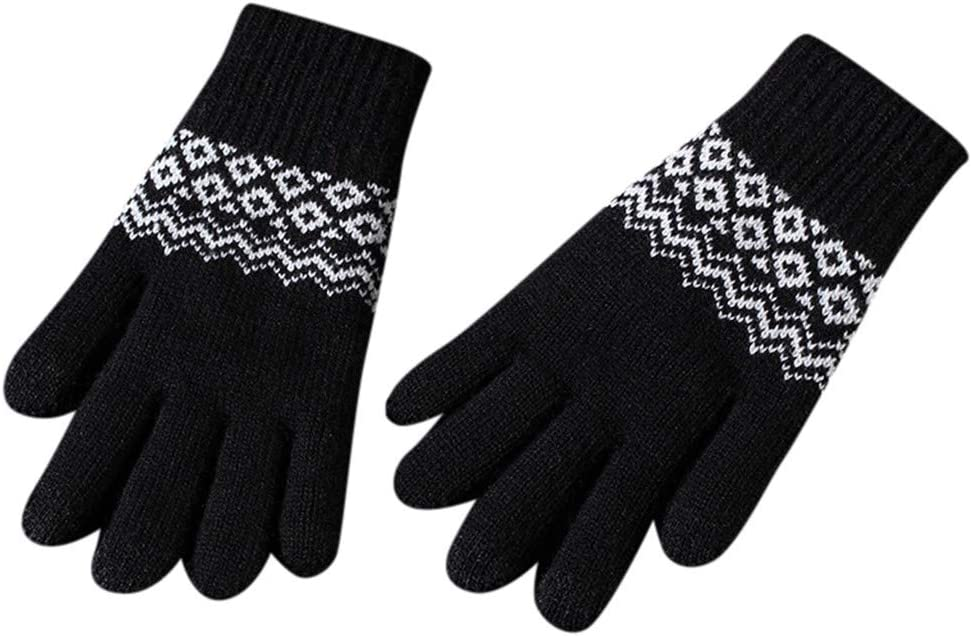 Smoxx Winter Wool Gloves for Women and Men, Anti-Slip Knit Touchscreen Cuff Warm Unisex Driving Outdoor Gloves with Thick Fleece Lining