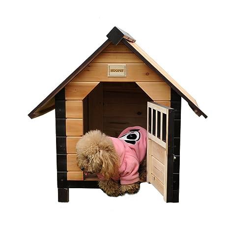 Casa de madera perro,Perrera Criadero al aire libre Casa de perro grande mediana para