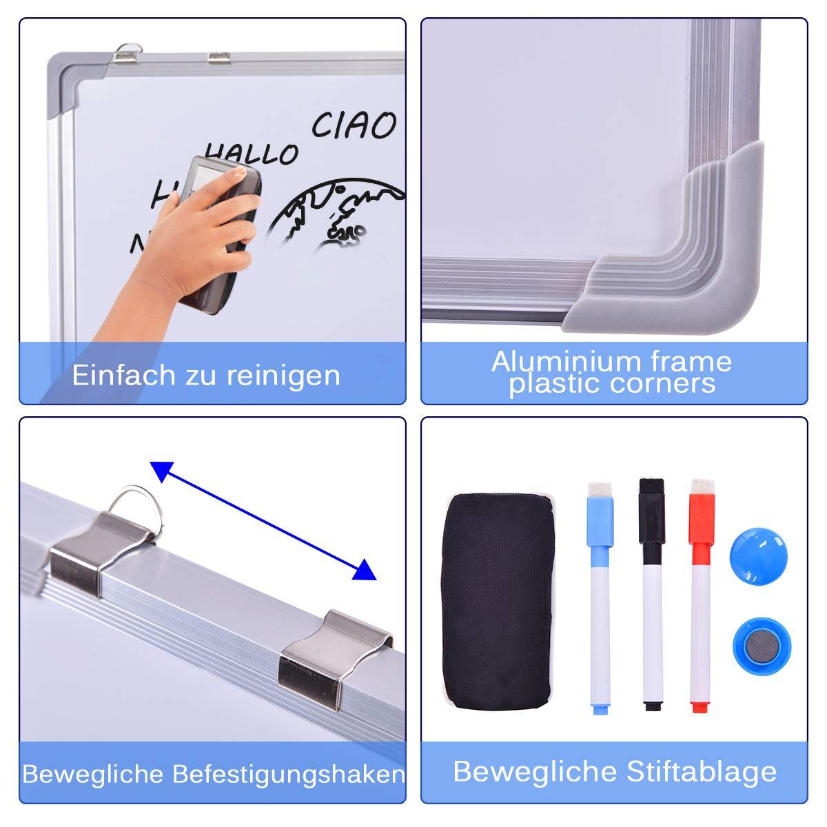 120x90cm COSTWAY Whiteboard Magnettafel Schreibttafel Pinnwand Wandtafel Board Memoboard mit Alurahmen viele Gr/ö/ßen w/ählbar