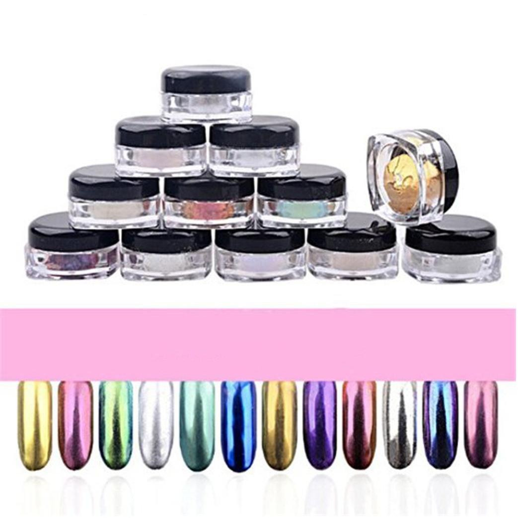 AMA(TM) 12 Colors Nail Glitter Powder Shinning Nail Mirror Chrome Powder Eyeshadow Makeup DIY Nail Art Pigment Glitter Dust Powder Set (Multicolor)