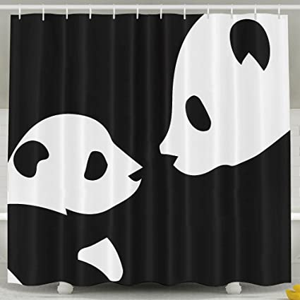 Cartoon Lovely Panda Mother And Baby Shower Curtain Repellent Fabric Mildew Resistant Machine Washable Bathroom