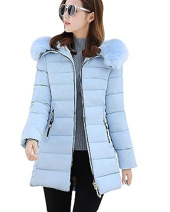 Saoye Fashion Femme Doudoune Hiver Élégant Parka Poches Latérales Zipper  Fermeture Éclair Manches Longues Unicolore Chaud 48ae1ba8c4f