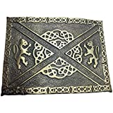 AAR Scottish Kilt Belt Buckle 2 Lions Celtic Knots Antique Finish