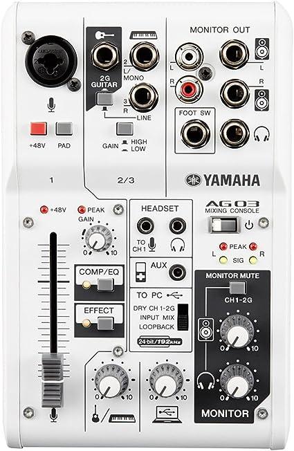 Yamaha AG03 - Mezclador Compacto, Blanco: Amazon.es: Instrumentos ...
