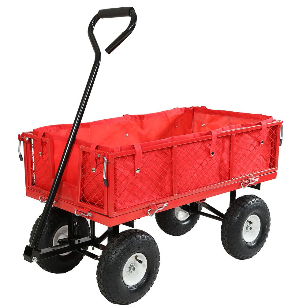 Sunnydaze Red Utility Cart with Folding Sides and Liner Set, 34 Inches Long x 18 Inches Wide, 400 Pound Weight Capacity by Sunnydaze Decor
