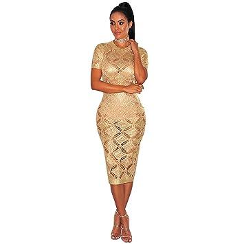 Moda Vestido | Vestido para mujer Las mujeres en Europa y América | oro rosa vestido