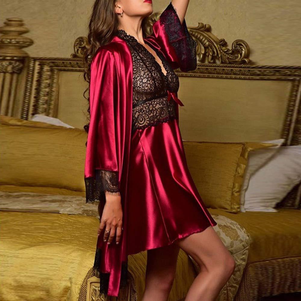 Pajamas Set Plus Size for Women's,Yamally Satin Lace Lingerie Kimono Robe Plain Dressing Gown Nightdress with Robe Wine by Yamally_9R-Women Sleepwear (Image #2)
