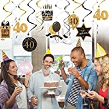 UNOMOR 40th Birthday Decoration with Hanging Swirls (15PCS), Celebrate 40 Hanging Swirls with Cutouts(8PCS), Table Décor Star Confetti (100 PCS)and 40th Confetti (100 PCS ) for Party Supplies