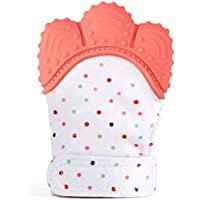 Baby Teething Mittens, BPA Free Food Grade Teething Glove for Baby, Smiling Teething Toys Mitten, Self-Soothing Stand on Hand mitt (Peach)