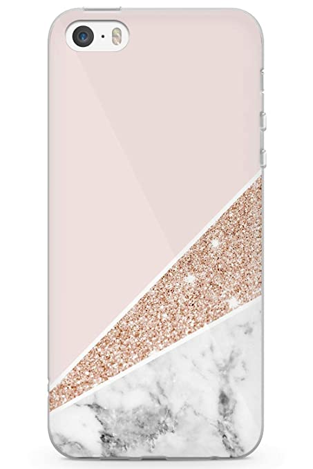 brand new c08ee 4369a Case Warehouse iPhone 5 Case, iPhone 5s, iPhone SE Luxury Designer Pink  Gold White Marble Phone Case Clear Ultra Thin Lightweight Gel Silicon TPU  ...