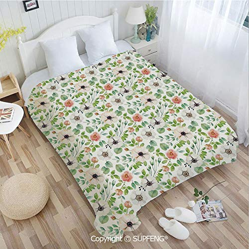 (FashSam Camping Blanket Botanical Watercolor Flourish Pattern in Artistic Nature Design Decorative(W39.4xL49.2 inch) Air Conditioning Comfort Warmth for Bedroom/Living Room/Camping etc)