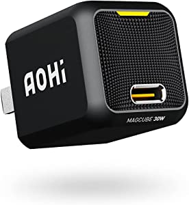 USB C Charger, AOHI Magcube 30W PD Wall Charger Block GaN+ Mini Power Adapter for MacBook/iPhone 12 Mini Pro Max/iPad Pro/Samsung Galaxy S21+/ Note 10+, Pixel and More (Cable Not Included)