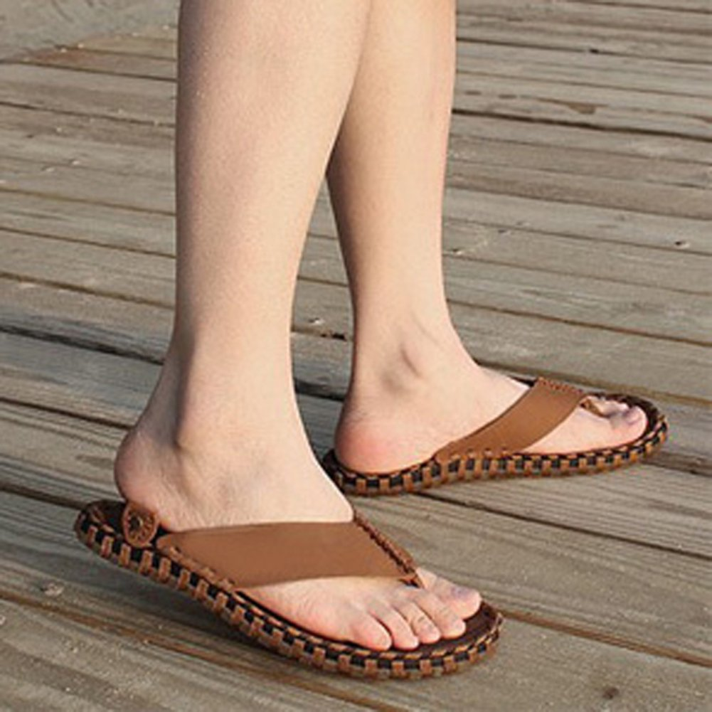 Leather sandals in the summer/Men flip flops/Men's non-slip slippers/Casual  summer sandals/Slippers men: Amazon.ca: Shoes & Handbags