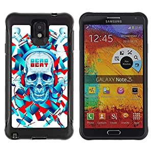 ZAKO Cases / Samsung Note 3 / Skull Beat / Robusto Prueba de choques Caso Billetera cubierta Shell Armor Funda Case Cover Slim Armor