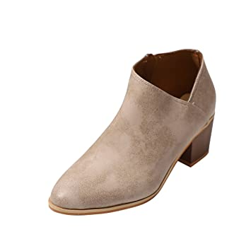 Mujer Zapatos moda fashion 2018,❤ Sonnena Las mujeres de las señoras Zapatos de otoño Moda Botines de cuero sólido Casual Botines cortos: Amazon.es: ...