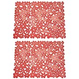 mDesign Adjustable Kitchen Sink Dish Drying Mat/Grid - Soft Plastic Sink Protector - Cushions Sinks, Stemware, Glasses, Dishes - Quick Draining Flower Design - Large, 17.2' Long - 2 Pack - Red