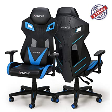 Swell Autofull Pro Big And Tall Gaming Office Chair Ergonomic Mesh Back Leather Bucket Seat Racing Computer Blue Chairs With Lumbar Support 3 Years Machost Co Dining Chair Design Ideas Machostcouk