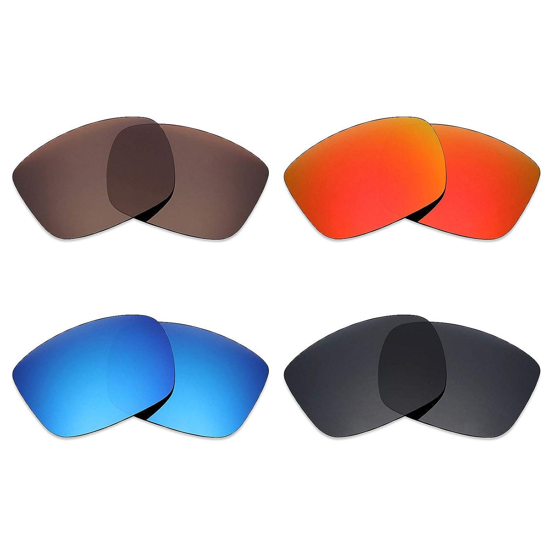 Mryok 4 pares de lentes polarizadas de repuesto para Spy Optic Discord Sunglass Stealth negro//fuego rojo//azul hielo//bronce marr/ón