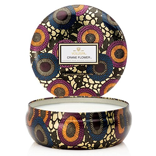 Voluspa 3 Wick in Decorative Tin Candle Crane Flower Unisex Adult One Size ()