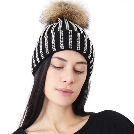 147dfe42e XWDA Women's Crystal Knitted Raccoon Fur Double Pom Beanie Hat Ski Cap