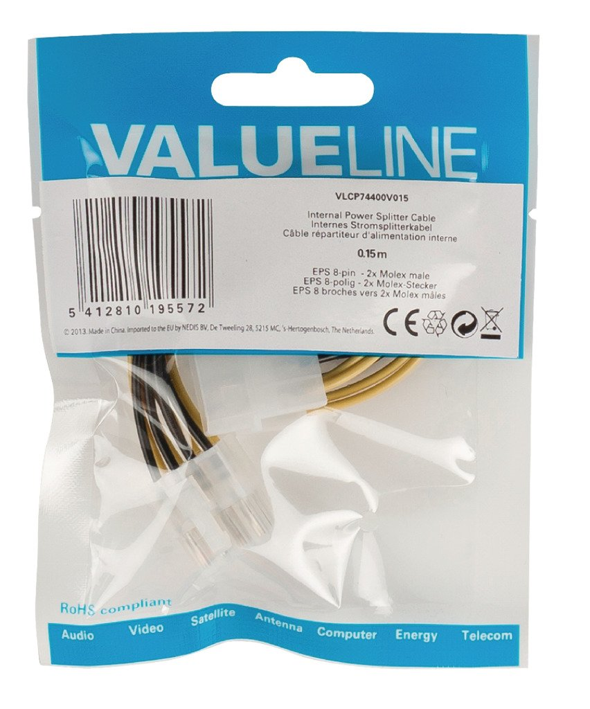 Valueline VLCP74400V015 0.15m Eps 8 Pin to 2x Molex Male Internal Power Splitter Cable Multicolour